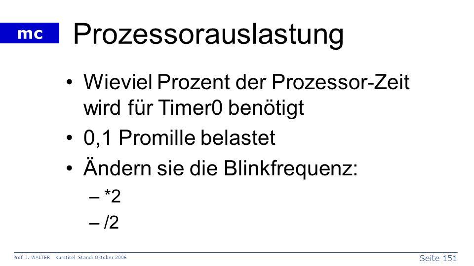 Seite 151 Prof. J. WALTER Kurstitel Stand: Oktober 2006 mc Prozessorauslastung Wieviel Prozent der Prozessor-Zeit wird für Timer0 benötigt 0,1 Promill