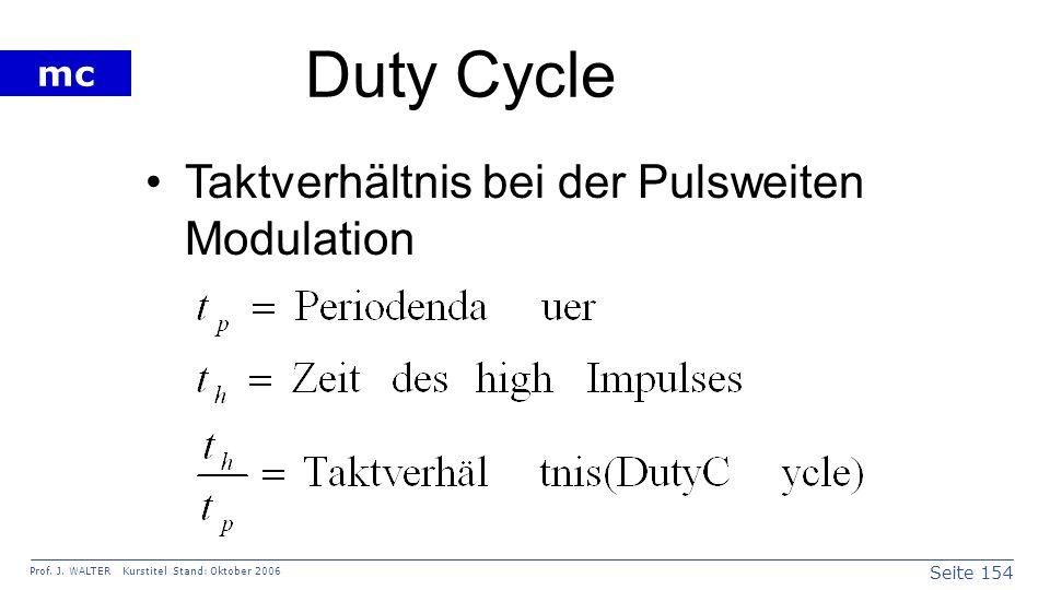 Seite 154 Prof. J. WALTER Kurstitel Stand: Oktober 2006 mc Duty Cycle Taktverhältnis bei der Pulsweiten Modulation