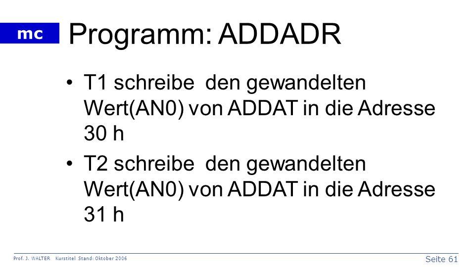 Seite 61 Prof. J. WALTER Kurstitel Stand: Oktober 2006 mc Programm: ADDADR T1 schreibe den gewandelten Wert(AN0) von ADDAT in die Adresse 30 h T2 schr