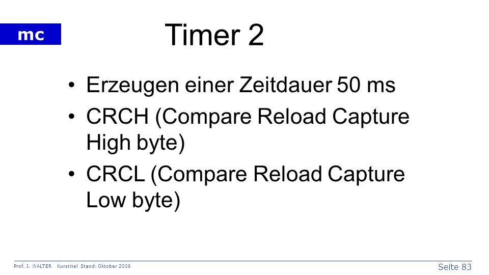 Seite 83 Prof. J. WALTER Kurstitel Stand: Oktober 2006 mc Timer 2 Erzeugen einer Zeitdauer 50 ms CRCH (Compare Reload Capture High byte) CRCL (Compare