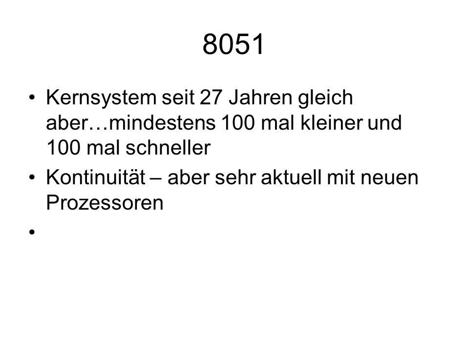 8051 Kernsystem seit 27 Jahren gleich aber…mindestens 100 mal kleiner und 100 mal schneller Kontinuität – aber sehr aktuell mit neuen Prozessoren