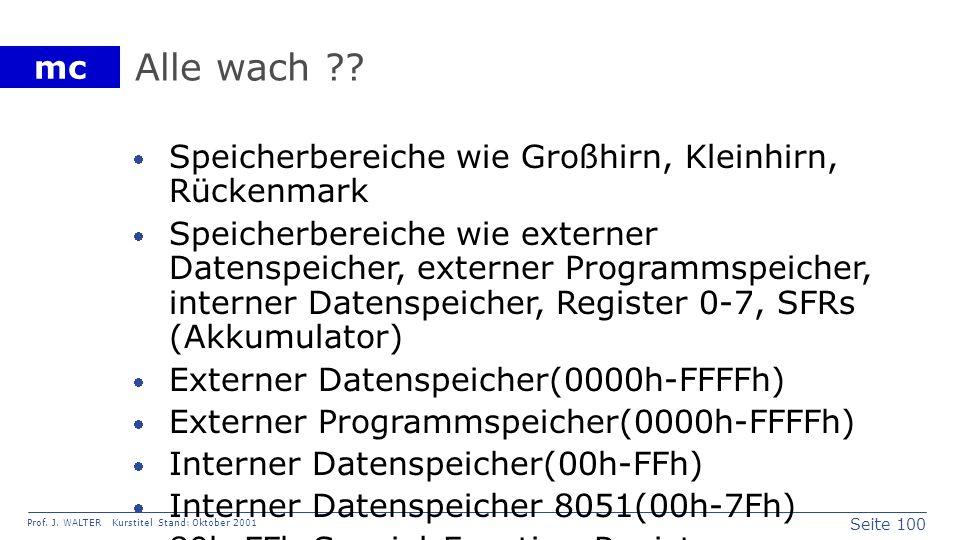 Seite 100 Prof. J. WALTER Kurstitel Stand: Oktober 2001 mc Alle wach ?? Speicherbereiche wie Großhirn, Kleinhirn, Rückenmark Speicherbereiche wie exte