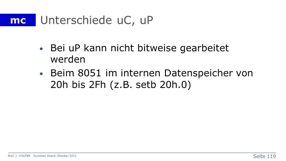 Seite 119 Prof. J. WALTER Kurstitel Stand: Oktober 2001 mc Unterschiede uC, uP Bei uP kann nicht bitweise gearbeitet werden Beim 8051 im internen Date