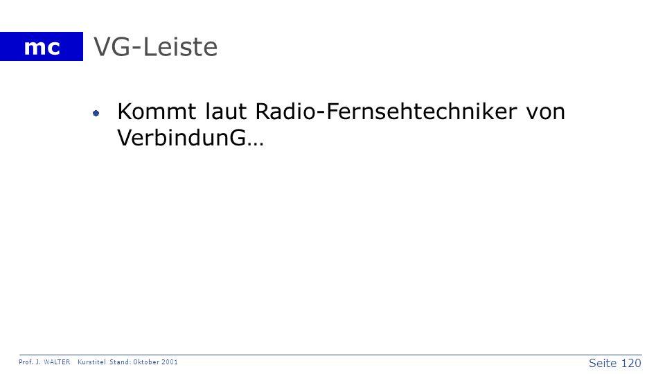 Seite 120 Prof. J. WALTER Kurstitel Stand: Oktober 2001 mc VG-Leiste Kommt laut Radio-Fernsehtechniker von VerbindunG…