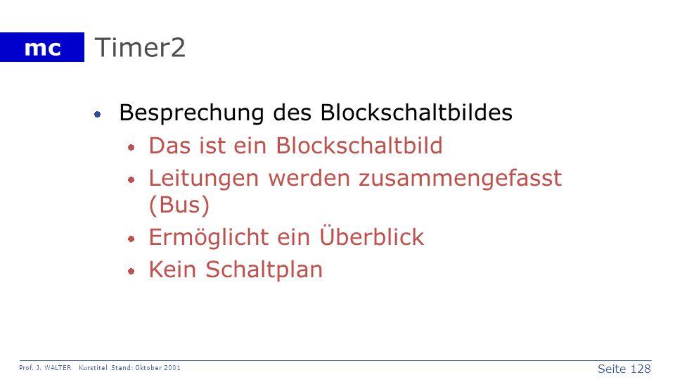 Seite 128 Prof. J. WALTER Kurstitel Stand: Oktober 2001 mc Timer2 Besprechung des Blockschaltbildes Das ist ein Blockschaltbild Leitungen werden zusam