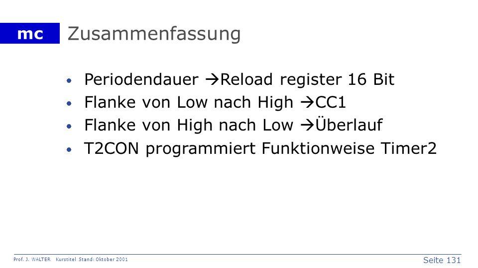 Seite 131 Prof. J. WALTER Kurstitel Stand: Oktober 2001 mc Zusammenfassung Periodendauer Reload register 16 Bit Flanke von Low nach High CC1 Flanke vo