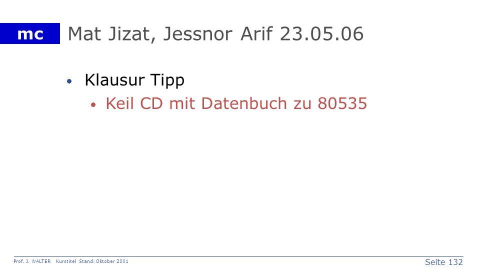 Seite 132 Prof. J. WALTER Kurstitel Stand: Oktober 2001 mc Mat Jizat, Jessnor Arif 23.05.06 Klausur Tipp Keil CD mit Datenbuch zu 80535