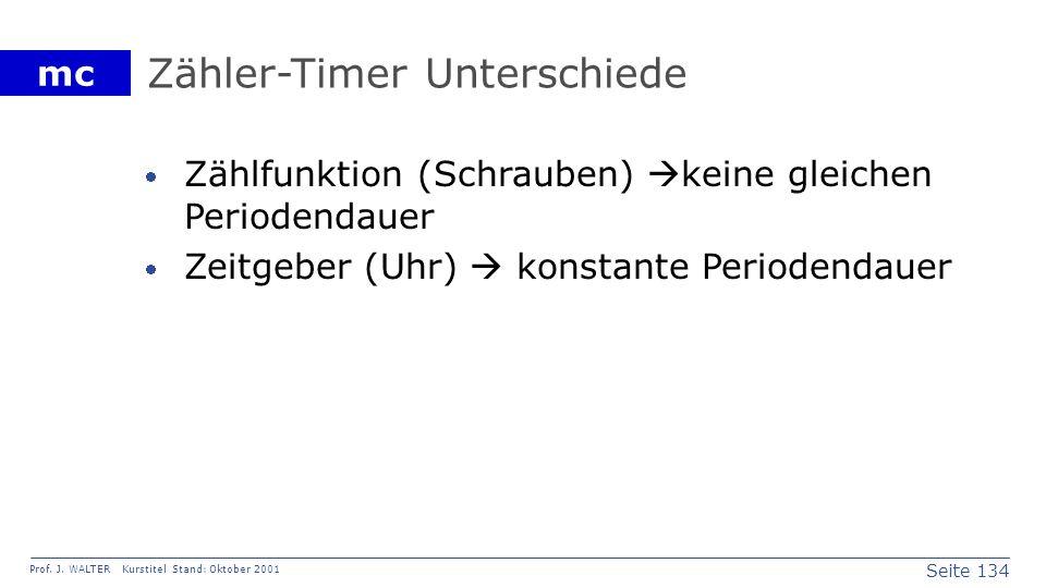 Seite 134 Prof. J. WALTER Kurstitel Stand: Oktober 2001 mc Zähler-Timer Unterschiede Zählfunktion (Schrauben) keine gleichen Periodendauer Zeitgeber (