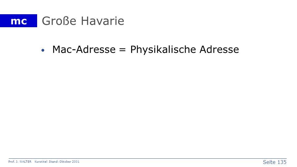 Seite 135 Prof. J. WALTER Kurstitel Stand: Oktober 2001 mc Große Havarie Mac-Adresse = Physikalische Adresse