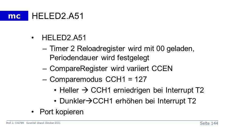 Seite 144 Prof. J. WALTER Kurstitel Stand: Oktober 2001 mc HELED2.A51 –Timer 2 Reloadregister wird mit 00 geladen, Periodendauer wird festgelegt –Comp