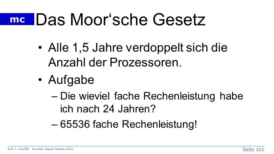 Seite 161 Prof. J. WALTER Kurstitel Stand: Oktober 2001 mc Das Moorsche Gesetz Alle 1,5 Jahre verdoppelt sich die Anzahl der Prozessoren. Aufgabe –Die