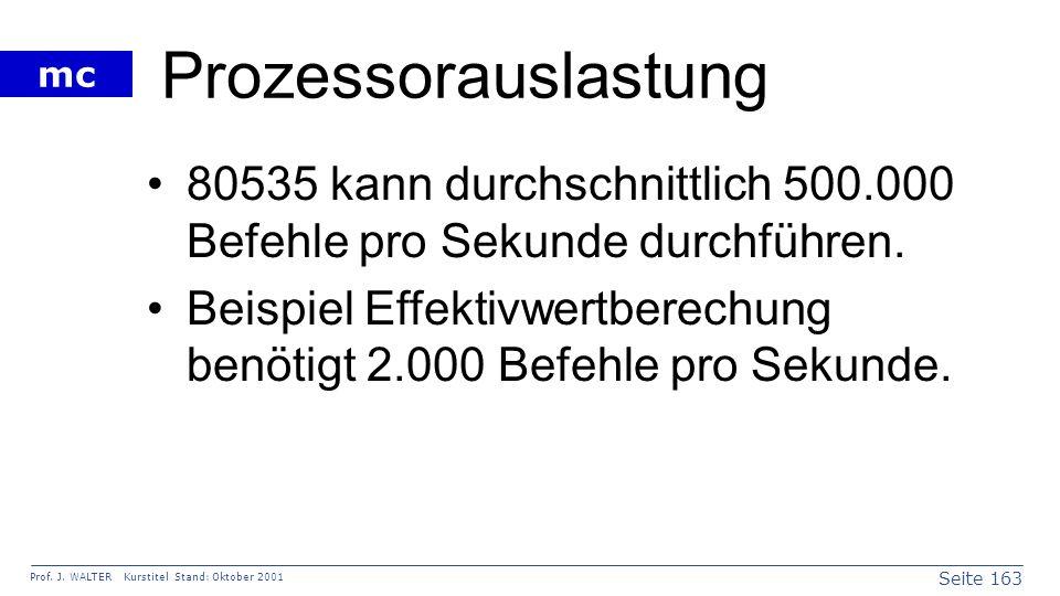 Seite 163 Prof. J. WALTER Kurstitel Stand: Oktober 2001 mc Prozessorauslastung 80535 kann durchschnittlich 500.000 Befehle pro Sekunde durchführen. Be
