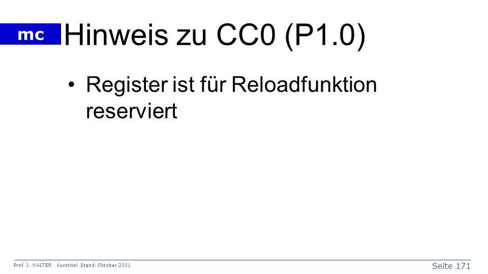 Seite 171 Prof. J. WALTER Kurstitel Stand: Oktober 2001 mc Hinweis zu CC0 (P1.0) Register ist für Reloadfunktion reserviert