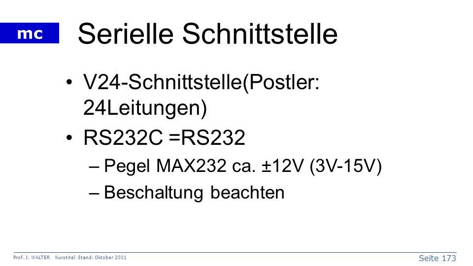 Seite 173 Prof. J. WALTER Kurstitel Stand: Oktober 2001 mc Serielle Schnittstelle V24-Schnittstelle(Postler: 24Leitungen) RS232C =RS232 –Pegel MAX232