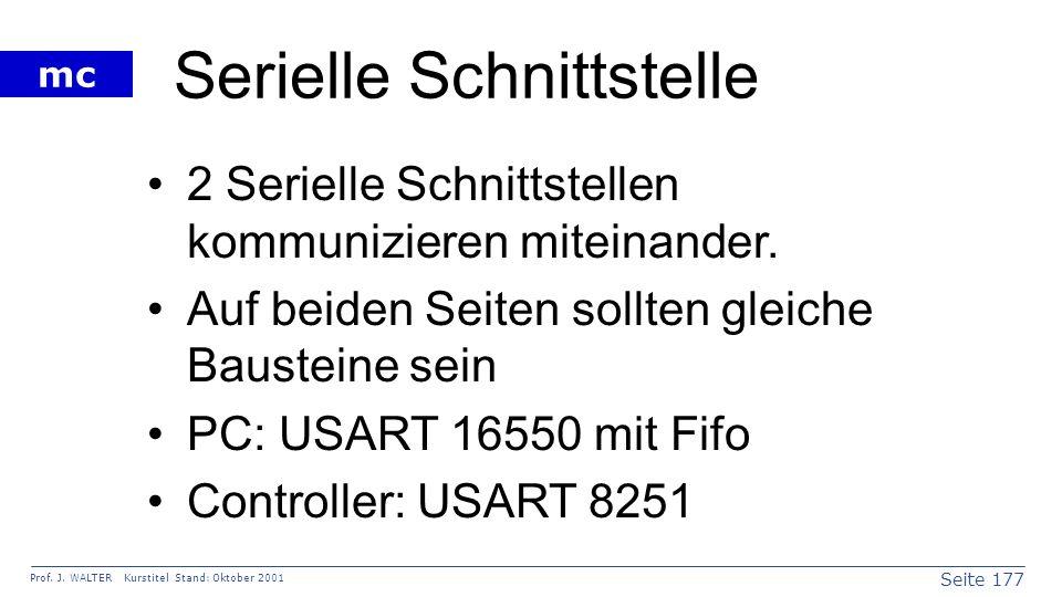 Seite 177 Prof. J. WALTER Kurstitel Stand: Oktober 2001 mc Serielle Schnittstelle 2 Serielle Schnittstellen kommunizieren miteinander. Auf beiden Seit