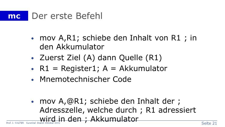 Seite 21 Prof. J. WALTER Kurstitel Stand: Oktober 2001 mc Der erste Befehl mov A,R1; schiebe den Inhalt von R1 ; in den Akkumulator Zuerst Ziel (A) da