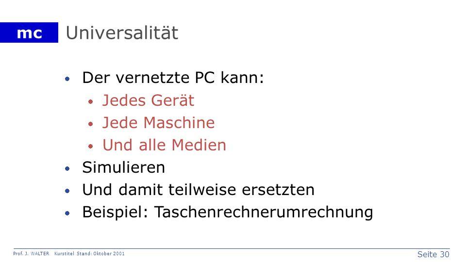 Seite 30 Prof. J. WALTER Kurstitel Stand: Oktober 2001 mc Universalität Der vernetzte PC kann: Jedes Gerät Jede Maschine Und alle Medien Simulieren Un