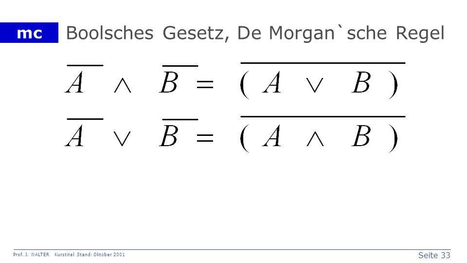 Seite 33 Prof. J. WALTER Kurstitel Stand: Oktober 2001 mc Boolsches Gesetz, De Morgan`sche Regel