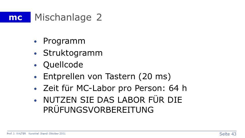 Seite 43 Prof. J. WALTER Kurstitel Stand: Oktober 2001 mc Mischanlage 2 Programm Struktogramm Quellcode Entprellen von Tastern (20 ms) Zeit für MC-Lab