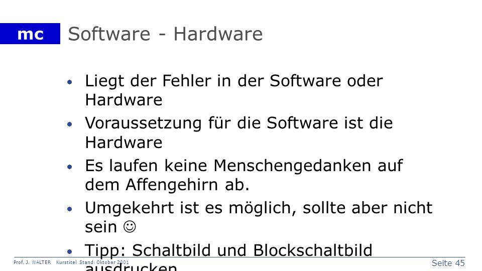 Seite 45 Prof. J. WALTER Kurstitel Stand: Oktober 2001 mc Software - Hardware Liegt der Fehler in der Software oder Hardware Voraussetzung für die Sof