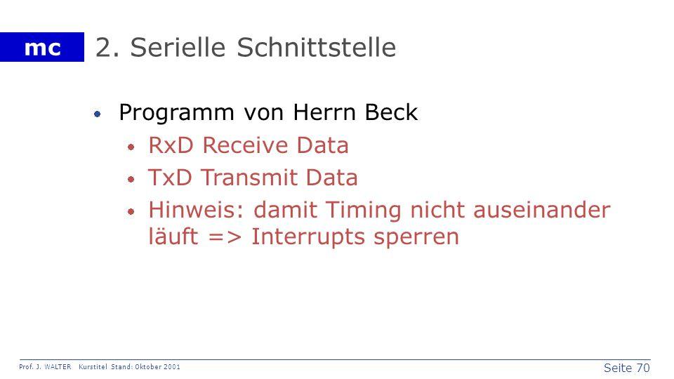 Seite 70 Prof. J. WALTER Kurstitel Stand: Oktober 2001 mc 2. Serielle Schnittstelle Programm von Herrn Beck RxD Receive Data TxD Transmit Data Hinweis