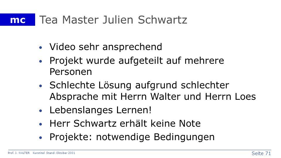 Seite 71 Prof. J. WALTER Kurstitel Stand: Oktober 2001 mc Tea Master Julien Schwartz Video sehr ansprechend Projekt wurde aufgeteilt auf mehrere Perso