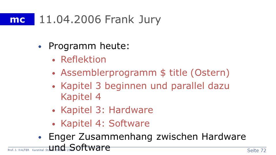 Seite 72 Prof. J. WALTER Kurstitel Stand: Oktober 2001 mc 11.04.2006 Frank Jury Programm heute: Reflektion Assemblerprogramm $ title (Ostern) Kapitel