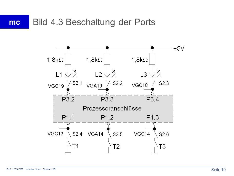 Seite 10 Prof. J. WALTER Kurstitel Stand: Oktober 2001 mc Bild 4.3 Beschaltung der Ports