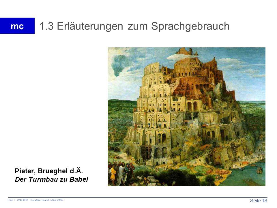 Seite 18 Prof. J. WALTER Kurstitel Stand: März 2006 mc 1.3 Erläuterungen zum Sprachgebrauch Pieter, Brueghel d.Ä. Der Turmbau zu Babel