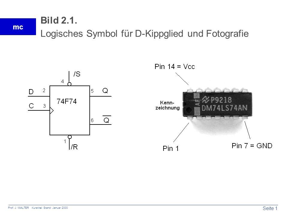Seite 1 Prof. J. WALTER Kurstitel Stand: Januar 2000 mc Bild 2.1. Logisches Symbol für D-Kippglied und Fotografie