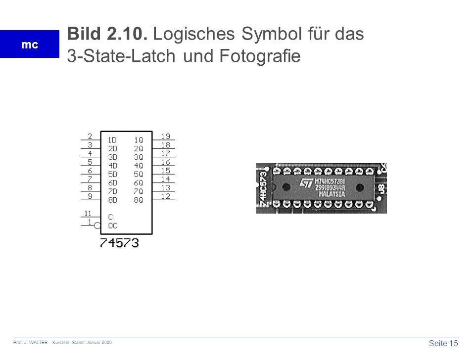 Seite 15 Prof. J. WALTER Kurstitel Stand: Januar 2000 mc Bild 2.10. Logisches Symbol für das 3-State-Latch und Fotografie