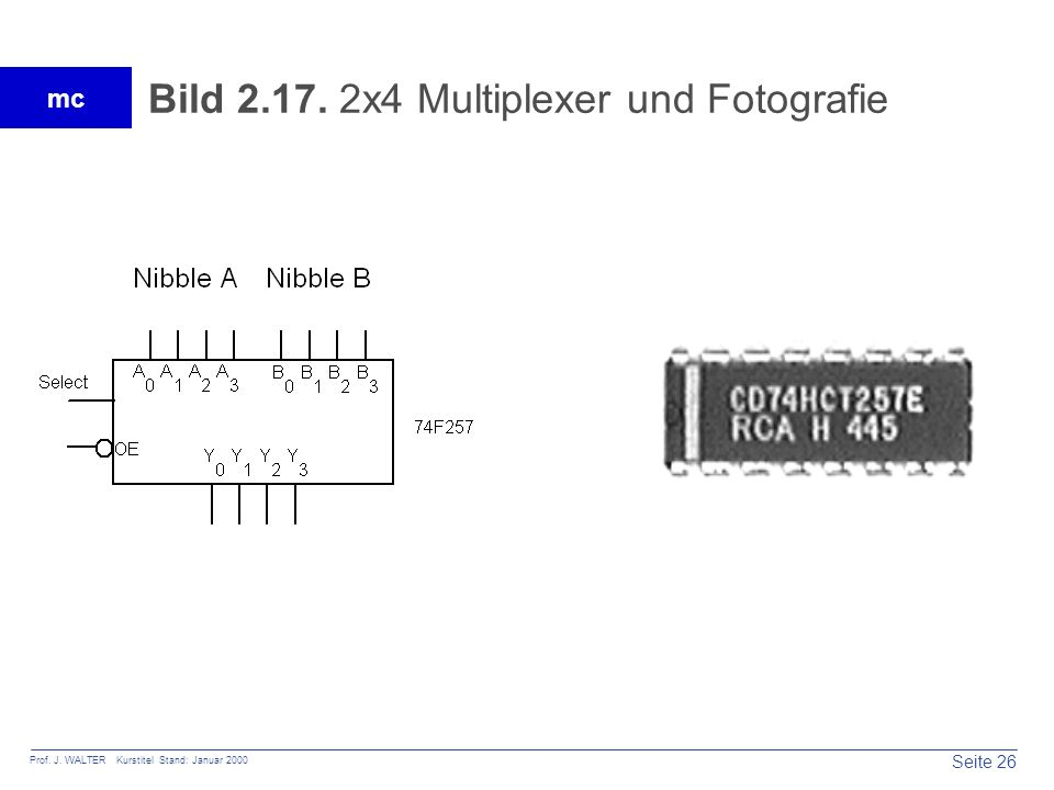 Seite 27 Prof. J. WALTER Kurstitel Stand: Januar 2000 mc Tabelle 2.11. Wahrheitstabelle Multiplexer