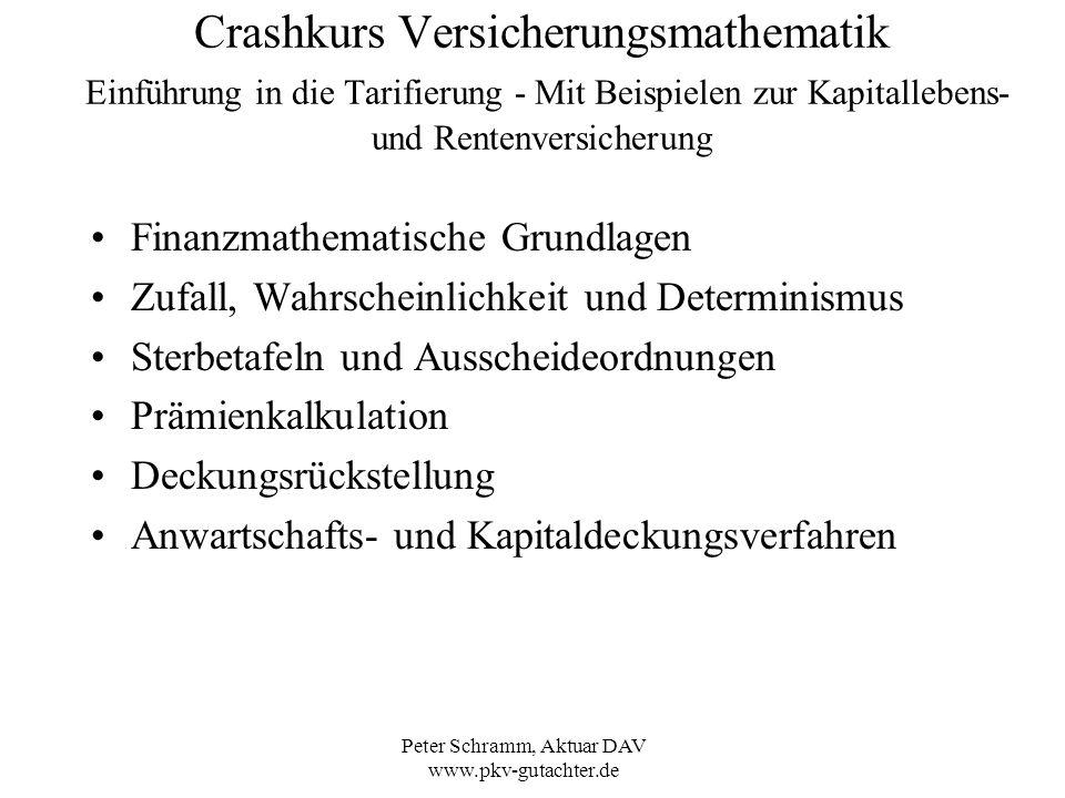 Peter Schramm, Aktuar DAV www.pkv-gutachter.de Crashkurs Versicherungsmathematik Einführung in die Tarifierung – Deckungsrückstellung Wie hoch ist bei dem vorangegangenen Beispiel die Deckungsrückstellung der Todesfallversicherung gegen laufenden Beitrag (Leistung 1) nach m = 10 Jahren: Die Deckungsrückstellung V x,m ist allgemein die Differenz Barwert der künftigen Leistungen – Barwert der künftigen Prämien Nach 10 Jahren hat der Kunde das Alter 45 und die Versicherung läuft noch 20 Jahre: V 35,10 = 20 A 45 - ( 20 a 45 * P) = 0,1567 – (14,625 * 0,00705) = 0,1567 – 0,1031 = 0,0536 Die Deckungsrückstellung für z.
