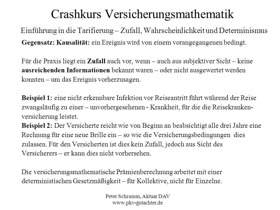 Peter Schramm, Aktuar DAV www.pkv-gutachter.de Crashkurs Versicherungsmathematik Einführung in die Tarifierung – Zufall, Wahrscheinlichkeit und Determ