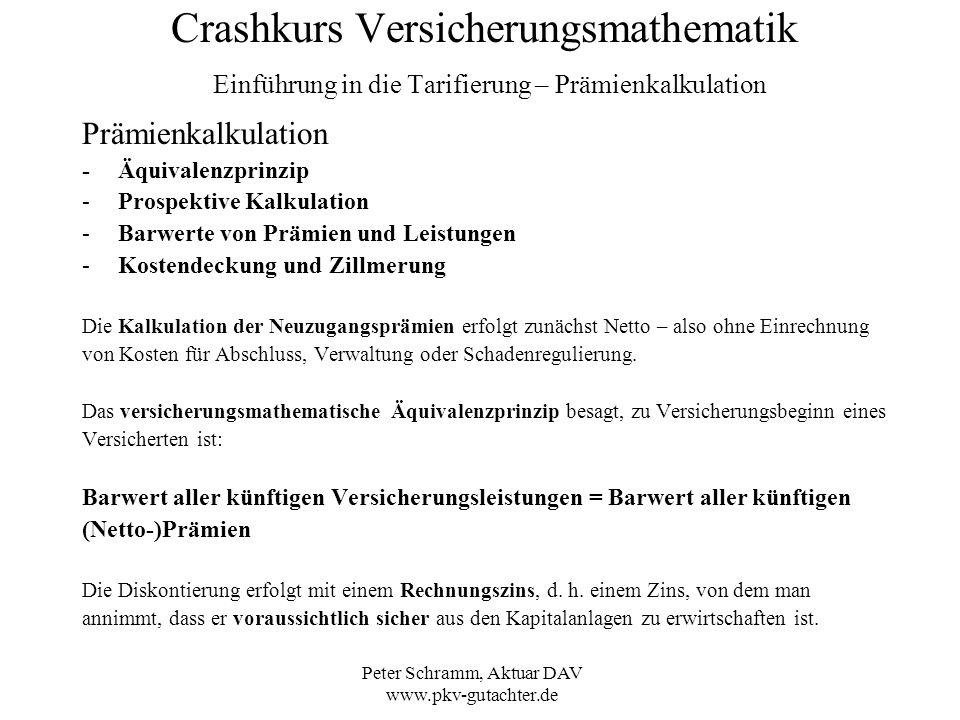 Peter Schramm, Aktuar DAV www.pkv-gutachter.de Crashkurs Versicherungsmathematik Einführung in die Tarifierung – Prämienkalkulation Prämienkalkulation