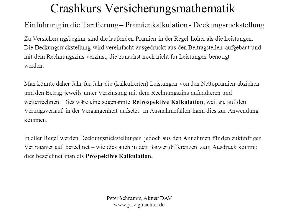 Peter Schramm, Aktuar DAV www.pkv-gutachter.de Crashkurs Versicherungsmathematik Einführung in die Tarifierung – Prämienkalkulation - Deckungsrückstel