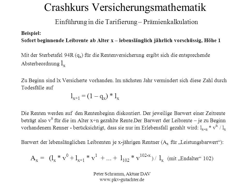 Peter Schramm, Aktuar DAV www.pkv-gutachter.de Crashkurs Versicherungsmathematik Einführung in die Tarifierung – Prämienkalkulation Beispiel: Sofort b