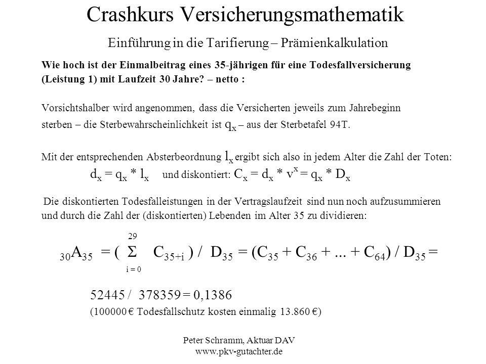 Peter Schramm, Aktuar DAV www.pkv-gutachter.de Crashkurs Versicherungsmathematik Einführung in die Tarifierung – Prämienkalkulation Wie hoch ist der E