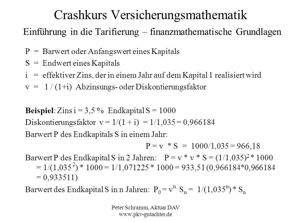 Peter Schramm, Aktuar DAV www.pkv-gutachter.de Crashkurs Versicherungsmathematik Einführung in die Tarifierung – Prämienkalkulation Eine mathematische Vereinfachung: Die Formel A x = (l x * v 0 + l x+1 * v 1 +...