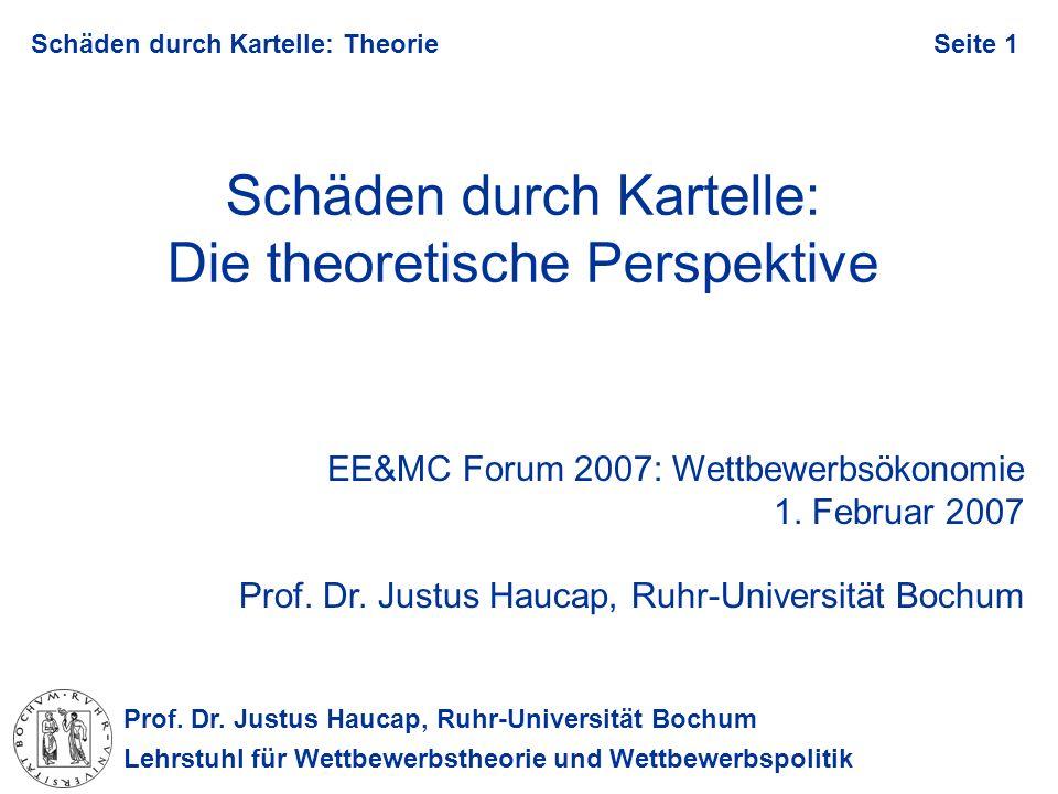 Prof. Dr. Justus Haucap, Ruhr-Universität Bochum Lehrstuhl für Wettbewerbstheorie und Wettbewerbspolitik Schäden durch Kartelle: TheorieSeite 1 Schäde