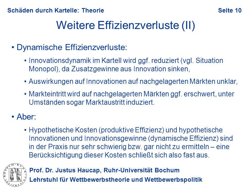 Prof. Dr. Justus Haucap, Ruhr-Universität Bochum Lehrstuhl für Wettbewerbstheorie und Wettbewerbspolitik Schäden durch Kartelle: TheorieSeite 10 Weite