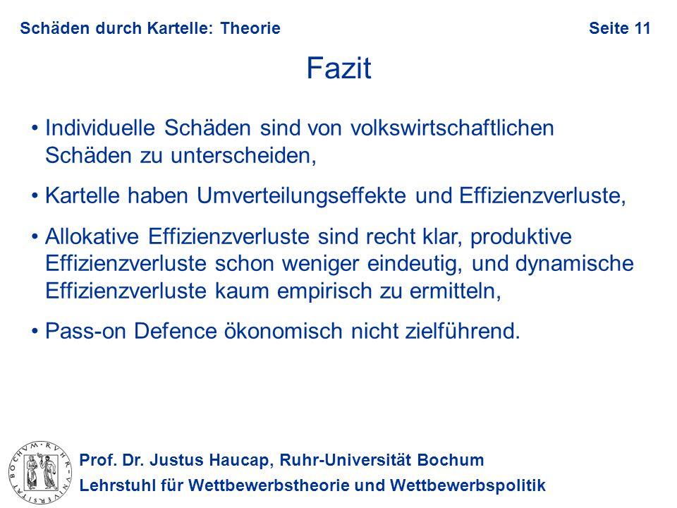 Prof. Dr. Justus Haucap, Ruhr-Universität Bochum Lehrstuhl für Wettbewerbstheorie und Wettbewerbspolitik Schäden durch Kartelle: TheorieSeite 11 Fazit