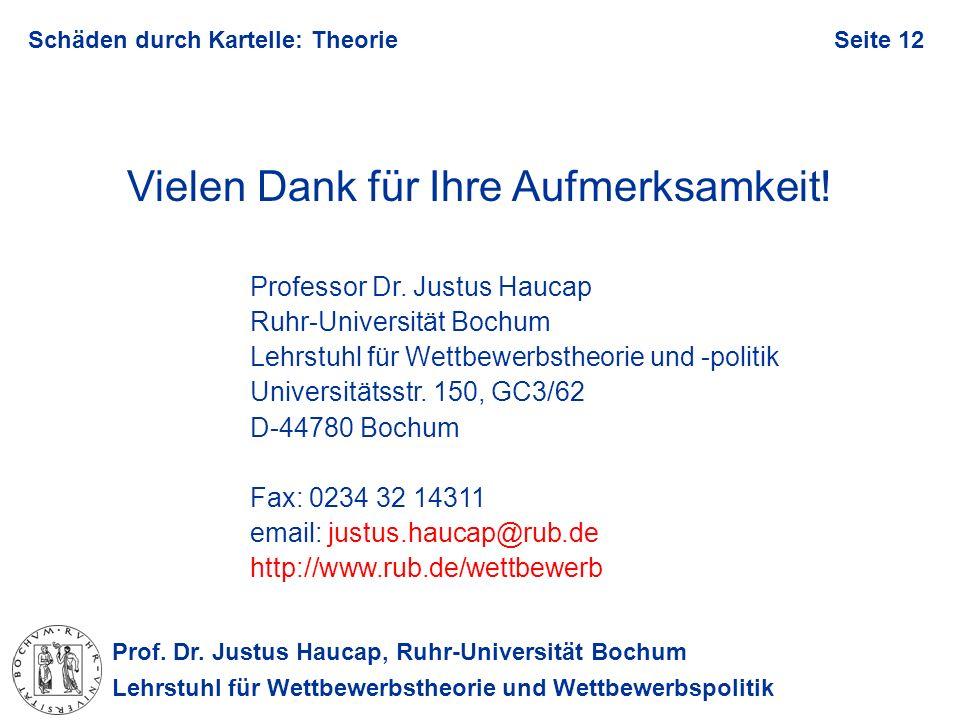 Prof. Dr. Justus Haucap, Ruhr-Universität Bochum Lehrstuhl für Wettbewerbstheorie und Wettbewerbspolitik Schäden durch Kartelle: TheorieSeite 12 Viele