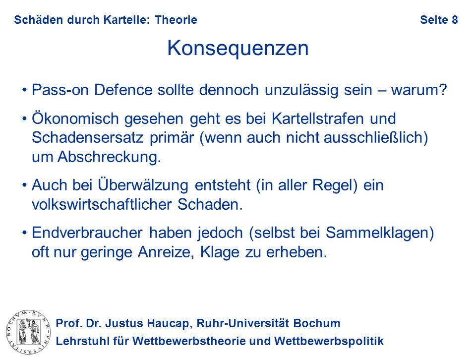 Prof. Dr. Justus Haucap, Ruhr-Universität Bochum Lehrstuhl für Wettbewerbstheorie und Wettbewerbspolitik Schäden durch Kartelle: TheorieSeite 8 Konseq