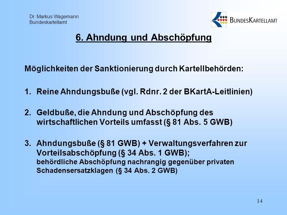 Dr. Markus Wagemann Bundeskartellamt 14 6. Ahndung und Abschöpfung Möglichkeiten der Sanktionierung durch Kartellbehörden: 1.Reine Ahndungsbuße (vgl.