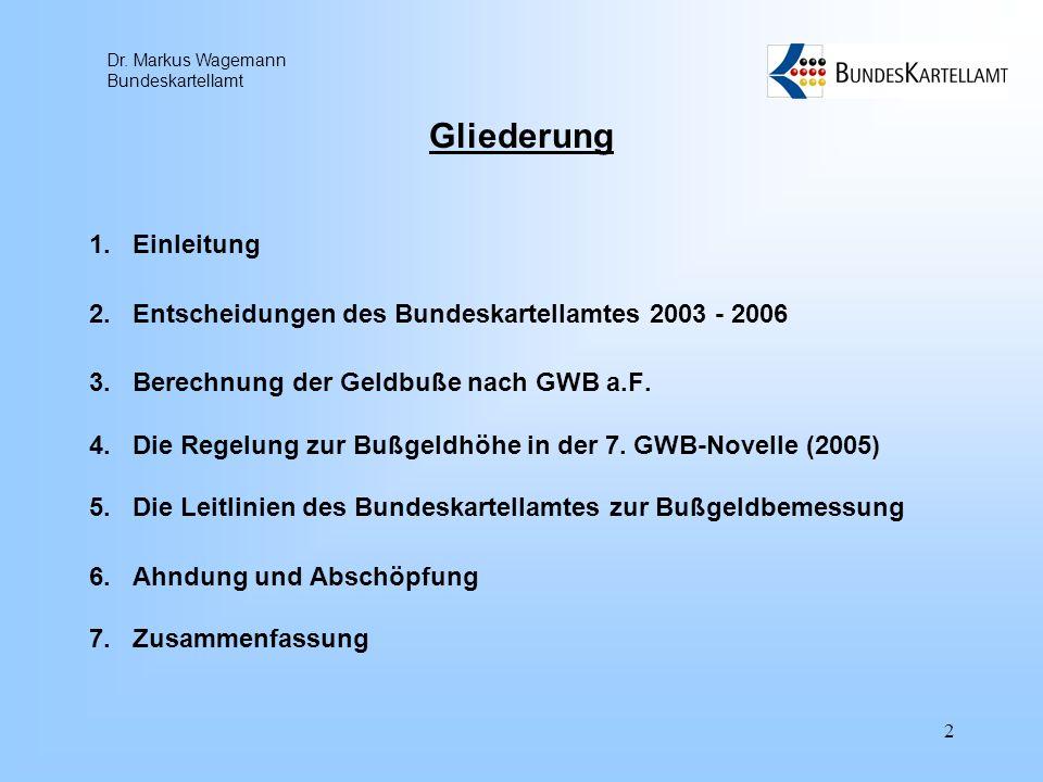 Dr. Markus Wagemann Bundeskartellamt 2 Gliederung 1.Einleitung 2.Entscheidungen des Bundeskartellamtes 2003 - 2006 3.Berechnung der Geldbuße nach GWB