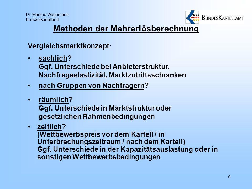 Dr. Markus Wagemann Bundeskartellamt 6 Methoden der Mehrerlösberechnung zeitlich? (Wettbewerbspreis vor dem Kartell / in Unterbrechungszeitraum / nach