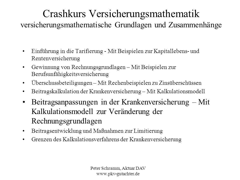Peter Schramm, Aktuar DAV www.pkv-gutachter.de Crashkurs Versicherungsmathematik Beitragsanpassungen in der Krankenversicherung – Mit Kalkulationsmodell zur Veränderung der Rechnungsgrundlagen Wann werden die Beiträge angepasst.