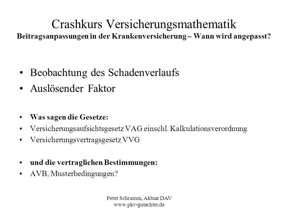 Peter Schramm, Aktuar DAV www.pkv-gutachter.de Crashkurs Versicherungsmathematik Beitragsanpassungen in der Krankenversicherung – Wann wird angepasst.