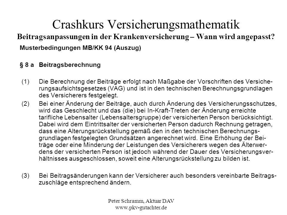 Peter Schramm, Aktuar DAV www.pkv-gutachter.de Crashkurs Versicherungsmathematik Beitragsanpassungen in der Krankenversicherung – Wie werden die Beiträge angepasst.